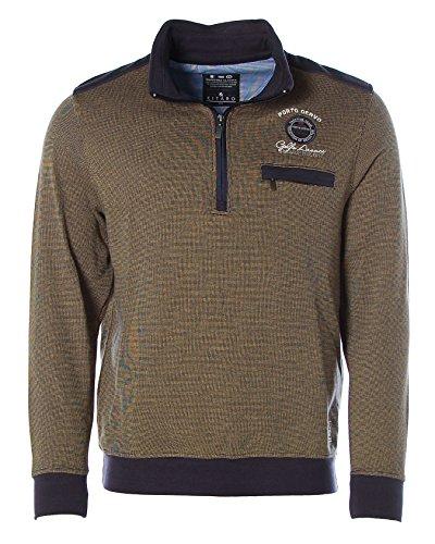 Maritimes Kitaro Sweat Shirt mit Polokragen,beige-blau Dark Beige/Navy
