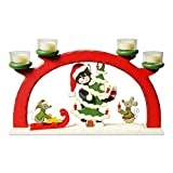 Kerzenhalter Katze & 2 Mäuse mit Christbaum inkl. 4 Teelichter Teelichthalter Holzdeko Kerzenständer Weihnachtsdeko