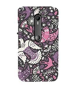 colourful birds in black background ethnic pattern 3D Hard Polycarbonate Designer Back Case Cover for Motorola Moto G3 :: Motorola Moto G (3rd Gen)