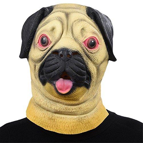 Labor Halloween Hund Kostüme (Auspicious beginning Neuheit Pug Hund Kopf Kostüm Party Latex Maske, Tier Kopf)