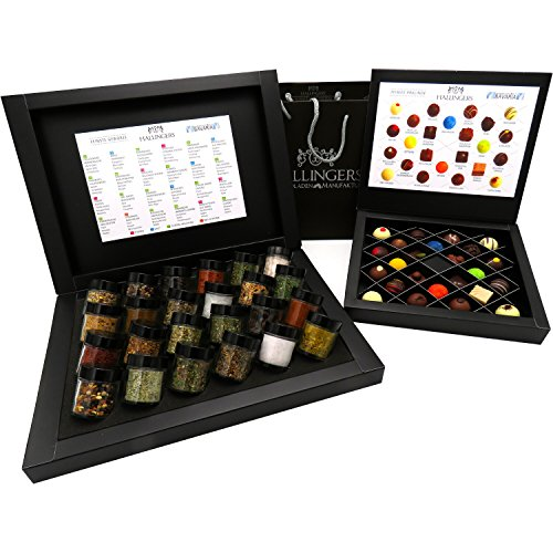 Hallingers Bestseller Gourmet-Set London - 24er Gewürz-Deluxebox + 24er FirstClass Pralinen Black + Tragetasche | Set/Mix | Set kleine Genusstasche | 999g