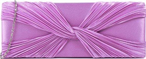 ANNE-L-Damen-Clutches-Abendtasche-Unterarmtasche-Handtasche-Schultertasche-Partybag-Satin-Flieder-Rosa-Pink-27x10-cm-BxH