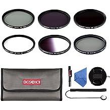 Beschoi - 67MM UV CPL ND2 ND4 ND8 Kit Pack de Filtros para Canon Rebel<br> T5i T4i T3i T3 T2i, EOS 700D 650D 600D 550D 70D 60D 7D 6D DSLR Cámara, Nikon D5300 D5200 D7000 D7100 D90 DSLR Cámaras - incluye 67mm Kit Accesorio Lente<br> (UV ND2 ND4 ND8 CPL + Graduado Gris Filtro) + Centro Pinch Tapa del Objetivo + Paño de Limpieza de Microfibra + Pluma de Limpieza + Tapa de Keeper Correa + Estuche de Filtro