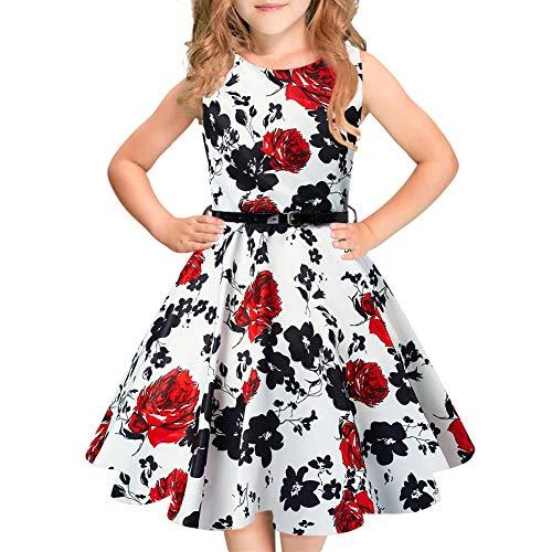 Idgreatim Mädchen Aermellos Casual Swing Kleider A-Line Sommerkleid mit Gürtel für Halloween (Für Mädchen Kleider Schule)