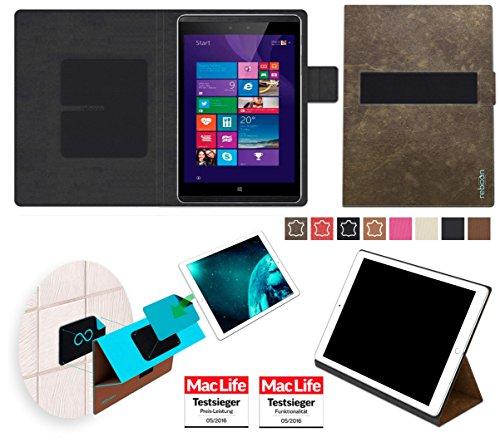 reboon Hülle für Hewlett Packard Pro Tablet 608 Tasche Cover Case Bumper   in Braun Wildleder   Testsieger