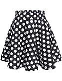 Dresstells reg;Falda Mujer Mini Corto Elástica Plisada Básica Multifuncional Black White Dot S