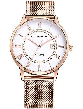 XLORDX Damen Armbanduhr Elegant Quarzuhr Datum Modisch Römisch Design klassisch Edelstahl Weiß Rose gold