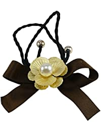 Saamarth Impex Brown Fabric With Golden Flower Design Rubber Band/Hair Band Accessories SI-3924