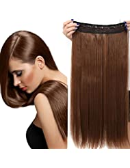23 Extensions Cheveux Clips Monobande - Extension a Clips 58CM(23 pouces) - Clip in Hair Extensions - Marron...