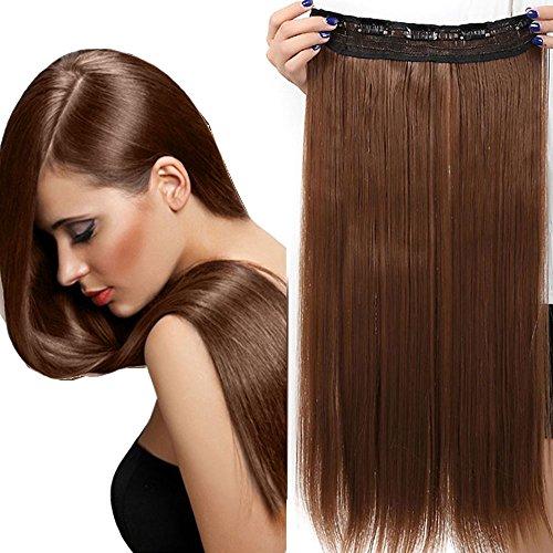 "Clip in Extensions wie Echthaar Hellbraun Haarverlängerung Haarteil hitzebeständig Glatt 1 Tresse 5 Clips 26""(66cm)-140g"