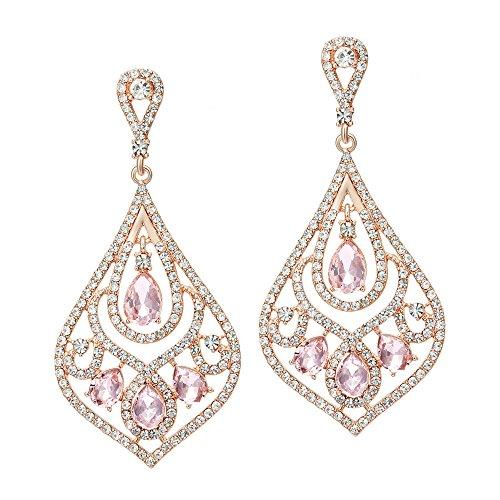 Coucoland 1920s Ohrringe Damen Retro Stil Perlen Dangle Ohrringe Inspiriert von Great Gatsby Damen Kostüm Accessoires (Stil 4-Rose Gold)