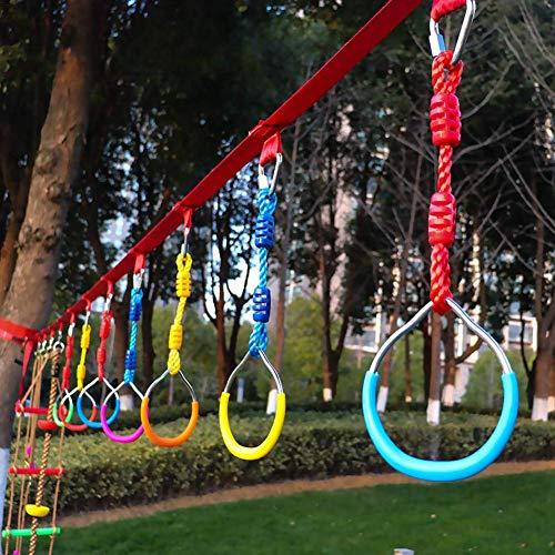 popchilli Schaukelstangenringe- Gymnastikring für Kinder im Garten Ninja Line Hindernis-Trainingskit,Backyard Outdoor Gymnastic Ring Klettergerüste Und Schaukeln