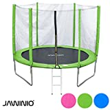 Jawinio Trampolin 305 cm (10F) Gartentrampolin Jumper Komplett-Set inkl. Leiter, Sicherheitsnetz und Sprungmatte Grün, Pink oder Blau (Grün)