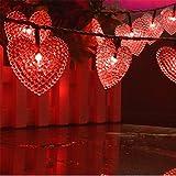 Heart String Lights, EONANT Im Freien Herz Lichter 30LED 19.7ft Wasserdicht mit 8 Modus Arbeitsbeleuchtung für Weihnachtsbaum Party Hochzeit Garten Schmücken (Rot)