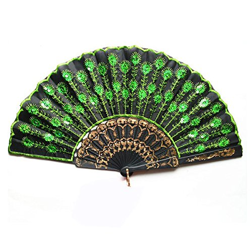 Foxnovo schöne Peacock Muster Stil Frauen Damen Seide Hand Fan Fan mit grünen Pailletten Falten