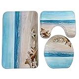 Matefield 3Ocean Muster Badezimmer Set Matte Rutschfest Bad Teppich Teppich Deckelbezug Blue Coast