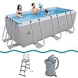 JILONG Swimming Pool Set Passaat Grey - Piscina con armazón de acero 400x200x99 cm con filtro de arena y escalera para piscina, pileta familiar para jardín y terraza.