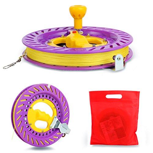 YaeTact Kite Reel Winder Wicklung Reel Grip Rad mit 100M Schnur Drachenschnur Seilwinde für Drachen,EIN gutes Flugspielzeug Geschenk für Ihre Kinder/Teenageralter (Violett)