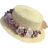 SHINA Sombreros de Paja para Mujeres Verano Viajes a la Playa con Corona de Flores