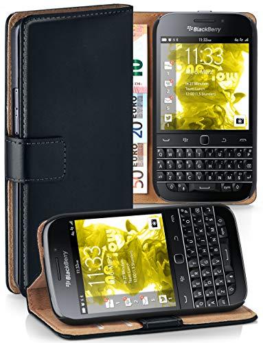 moex® Booklet mit Flip Funktion [360 Grad Voll-Schutz] für BlackBerry Classic | Geldfach & Kartenfach + Stand-Funktion & Magnet-Verschluss, Schwarz