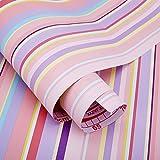 Poowef Wallpaper Tapeten-Tapete Selbstklebende Pvc-Tapete Direkt Eingefügt Schlafzimmer-Wohnungs-Möbel-Wand Überholte 10 Meter Des Schokoladen-Ziegelsteines, 0.45 * 10M, Farbstreifen