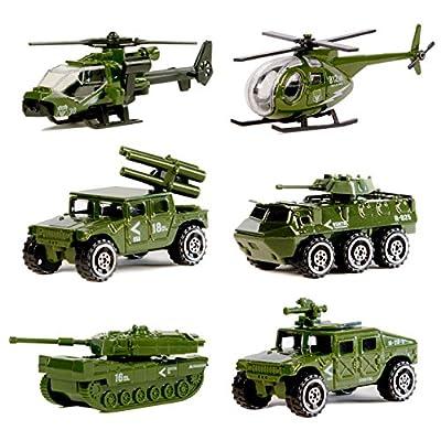 Druckguss-Militärfahrzeuge, 6er-Pack Verschiedene Spielautos der Militärfahrzeug-Modelle aus Metalllegierung, Spielset des Mini-Militärspielzeugs für Kinder, Kleinkinder und Jungen.. von Original Color
