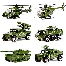 6pcs de Juguetes de Vehículos Militares Moldeado a Presión de Aleación Surtida, Tanque Militar, Jeep, Armadura, Vehículo Antiaéreo, Helicóptero de Ataque, Helicóptero del para los Niños