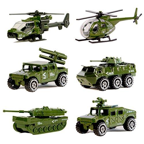 Original Color VéhiculesMilitairesmouléssousPression,MiniJouetVéhiculeArmée6PackAssortiTank,Jeep,Panzer,VéhiculeAnti-Air,Hélicoptèred'Attaque