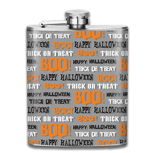 Tasche Flachmann für Männer und Frauen Schnaps Set Edelstahl Alkohol Whisky Wodka Flasche Halloween Typografie Boo (Halloween Ihnen Boo Zu)