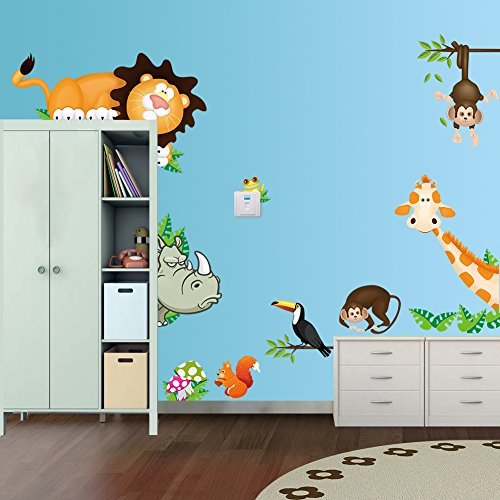 wandsticker4u-wandtattoo-lustige-wald-tiere-zootiere-affe-giraffe-safari-wandaufkleber-wandsticker-d