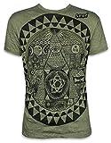 Sure Herren T-Shirt Pyramide All-sehendes Auge Illuminati Freimaurer Weltordnung PSY (Olive Grün M)