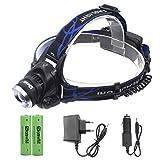 Genwiss 5000lm CREE Q5 LED Zoomable justieren Fokus Kopflampe Scheinwerfer Wasserdichte Taschenlampe für Camping Biking Arbeits (einschließlich 2 x 4200mAh Batterie 18650 + Charger + Car Charger)