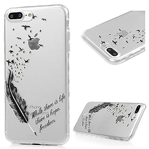 iPhone 7 Plus Hülle Case Kasos iPhone 7 Plus Ultra Dünn TPU Silikon Schutzhülle Handytasche Gemalt Transparent Wellenförmige Border Smart Cover mit Feder Vögel Design