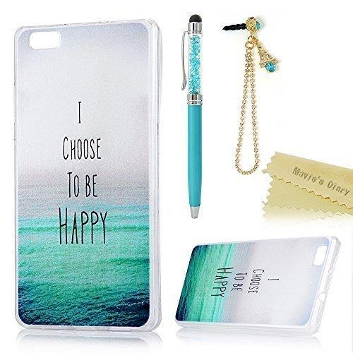 Huawei P8 Lite Cover Custodia in Gel TPU Silicone - Mavis's Diary Morbido Protettiva TPU Case Cover Custodia Resistente ai graffi - mare (Stylus + spina della