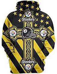 WYDHHLD Unisex 3D Sudaderas de Pittsburgh Steelers Printed Fashion Sudadera con Capucha Pullover Sudaderas,L