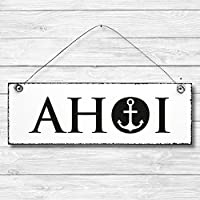 Ahoi - Anker maritim Dekoschild Türschild Wandschild Holz Deko Schild 10x30cm Holzdeko Holzbild Deko Schild Geschenk Mitbringsel Geburtstag