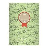 Kartenkaufrausch 2 Coole Dino DIN A5 Schulhefte, Schreibhefte mit verschiedenen Dinosauriern auf grün Lineatur 6 (blanko Heft)