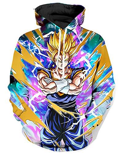 Siennaa Pull Moche Homme Imprimé Imitation Créatif Dragon Ball Z Unisexe Oversize Drôle Garçon Sweat-Shirt avec Capuche Rigolo Pull Homme Manches Longues Sportif Sweat Shirt avec Poch