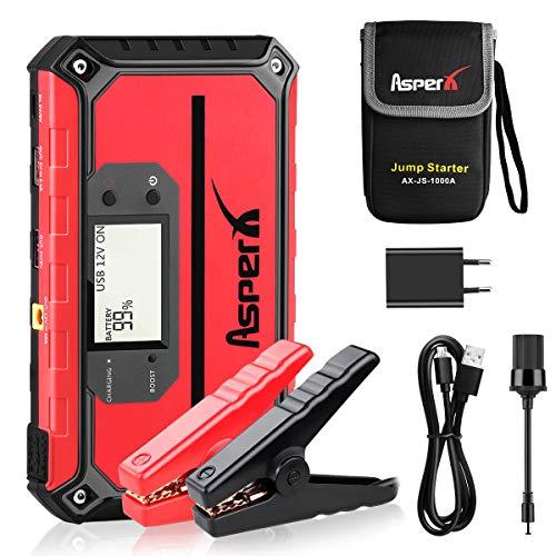 Avviatore Emergenza per Auto, AsperX 1000A 18000mAh Avviatore Batteria Auto(Fino a 7,5 litri di gas o 5,5 litri di motore diesel)Moto 12V Jump Starter con Torcia a LED USB Quick Charge 3.0 Boost