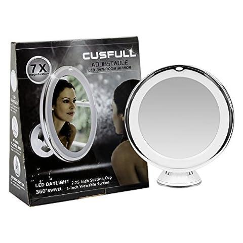 Cusfull Miroir Maquillage Miroir de Poche Maquillage Lumière LED Miroir Miroirs Lumineux Grossissant x 7 avec Lumière LED et Ventouse 360° Tournant pour rasage ,maquillage ,cosmétique ,chambre ,salle de bain ,voyage