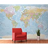 Image of 1 Wall Giant Blue Political Map Atlas Wall Mural 3.15 x 2.32m W4PL-BLUEMAP-007