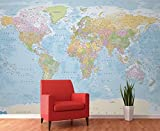 1 Wall Modern Educational Blue World Map Wallpaper Mural, Wood, Blue, 3.15 x 2.32 m