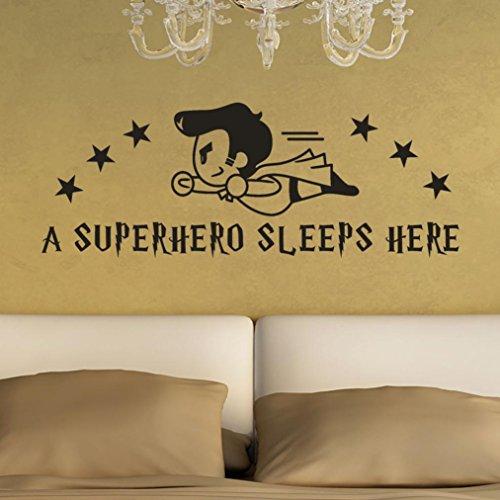 Wandtattoo Kinderzimmer, erthome Text Wandaufkleber Wohnzimmer Für Mädchen Kinderzimmer Aufkleber Wandsticker (ein Superheld schläft hier)