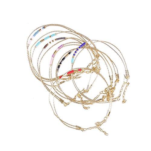 KELITCH Mode Perlen Schmuck Gold Unendlichkeit Armband Kette Charm Einfach Inspiriert Damen Geschenk 7 Stk (Farbe 8)