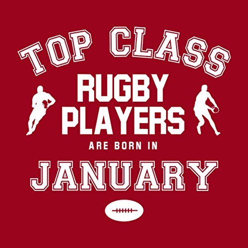 Top Class Rugby Players Are Born In January Men's Hooded Sweatshirt Cherry Red