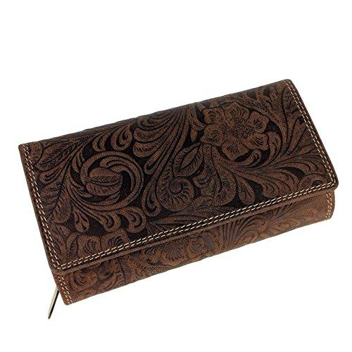 Schompi Trading Damen XL Geldbörse aus Leder mit geprägtem Lianen Muster Blumen Paisley - Elegante Damenbörse Lederbörse Farbauswahl, Farbe:Braun