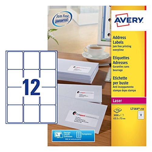 Avery Self Adhesive Address Mailing Labels L7164 Laser Printers 12 Labels Per A4 Sheet 3000 labels UltraGrip