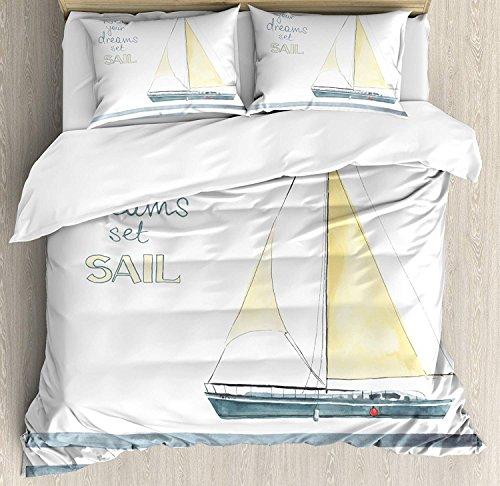 Set di biancheria da letto nautica, lascia sognare le tue barche a vela, tema di navigazione entrobordo, 3 pezzi, copripiumino, copripiumino per bambini / bambini / ragazzi / adulti, bianco azzurro, T