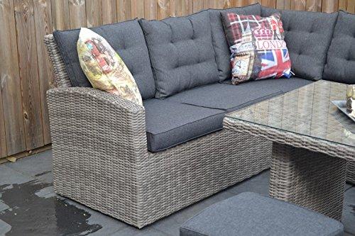Di alta qualità da tavolo in grigio polyrattan eck lounge mobili