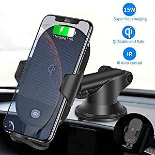 Auto Car Fast Wireless Charger-Charging Stand Compatible With iPhone X/ Xs Max/XR,8/8 Plus,Samsung A10/A9s,S9/S9 Plus,S8 Plus,S7 S6 edge Plus,Note 9,Note 8,Note 5 etc Qi Device (Upgraded Car Charger)